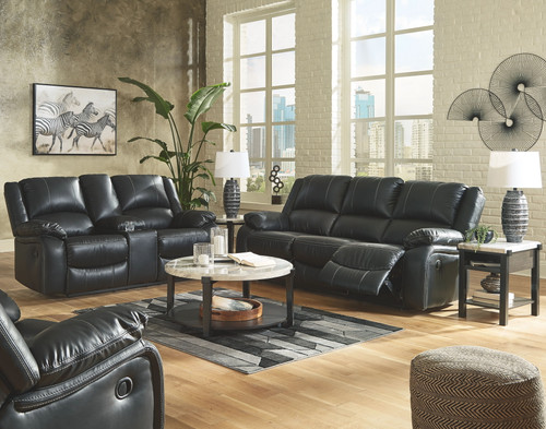 Calderwell Black 3 Pc. Reclining Sofa, Double Reclining Loveseat with Console & Rocker Recliner