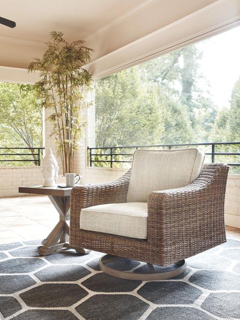 Beachcroft Beige Swivel Lounge Chair (1/CN)