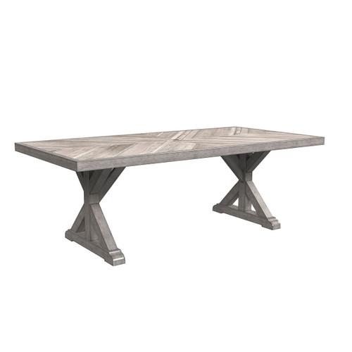 Beachcroft Beige Rectangular Dining Table w/UMB OPT