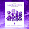 Amethyst Skies 14pc Silver Ink with Kraken Logo Polyhedral Dice Set for RPGS