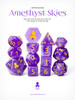 Amethyst Skies 14pc Gold Ink with Kraken Logo Polyhedral Dice Set for RPGS