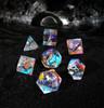 Dichroic Glass Semi-precious Gemstone Dice Set- Old Font