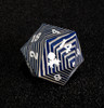 Blue and Gray 30mm Wooden D20