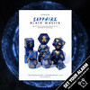 Sapphire Black Magick 14pc DnD Dice Set With Kraken Logo