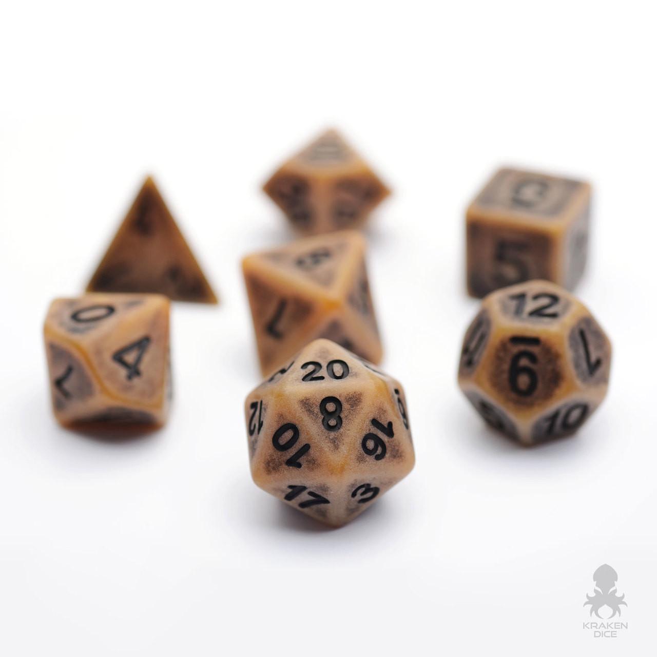Archaic Gold Polyhedral Dice Set For Dd