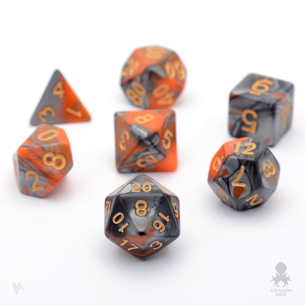 Metallic Dice 16mm Glow In The Dark Orange Dice Set DnD Rpg