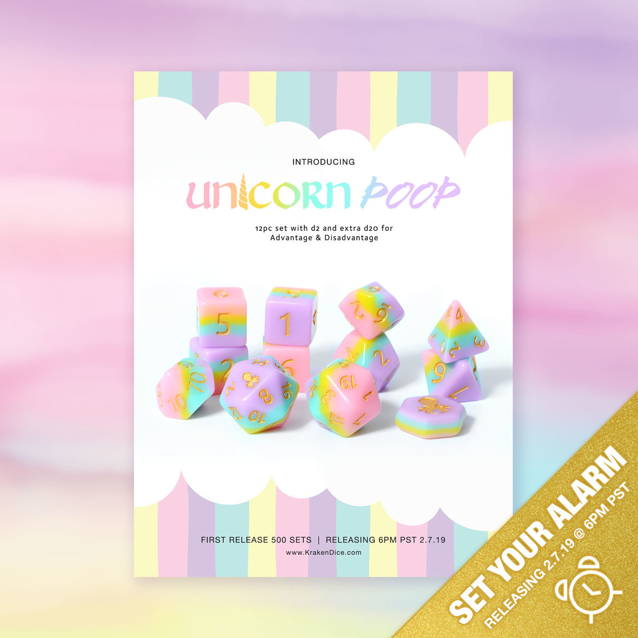Unicorn Poop 12pc Matte DnD Dice Set With Kraken Logo