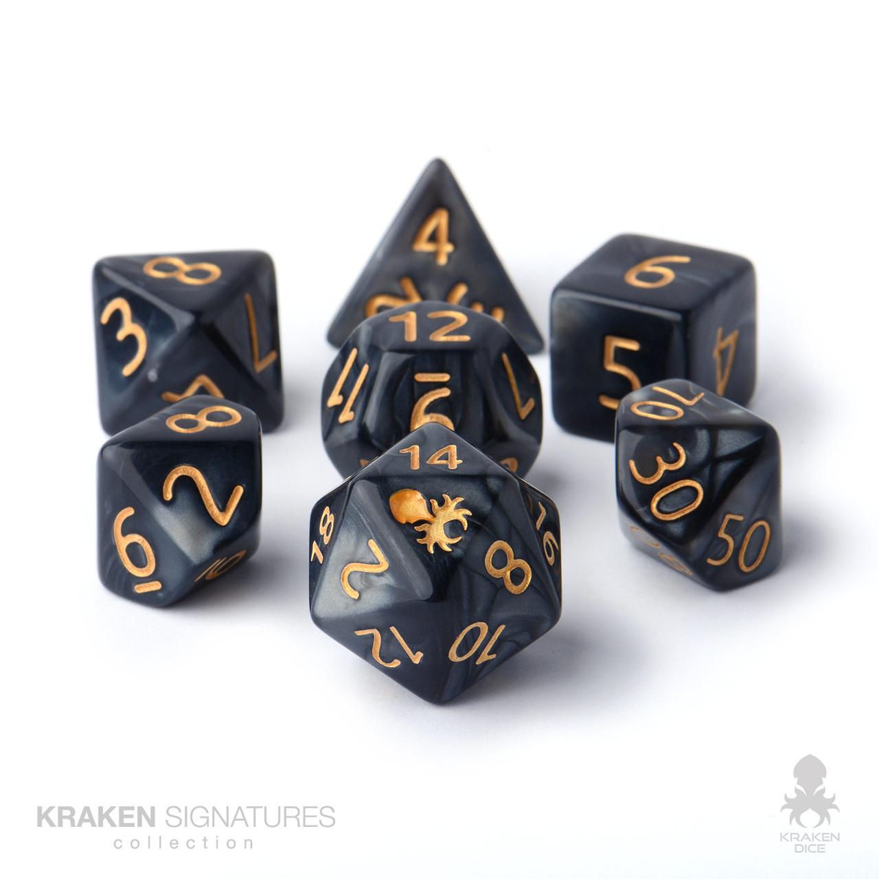 Kraken Signature's 7pc Black with Gold Ink Polyhedral RPG Dice Set