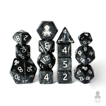 Iconic Black with Silver Ink 12pc DnD Dice Set With Kraken Logo  *Optional 14pc set shown