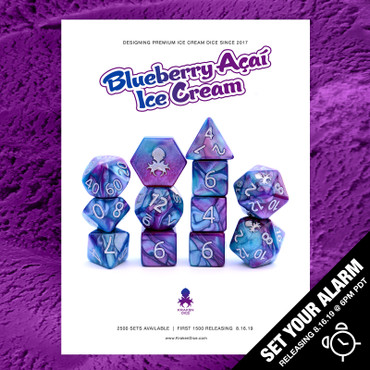 Blueberry Acai Ice Cream Dice 12pc RPG Dice Set with Silver Ink