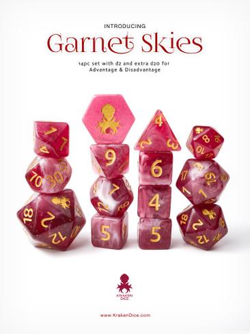 Garnet Skies 14pc Gold Ink with Kraken Logo Polyhedral Dice Set for RPGS