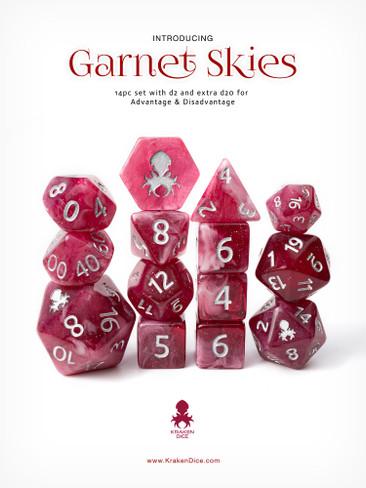 Garnet Skies 14pc Silver Ink with Kraken Logo Polyhedral Dice Set for RPGS