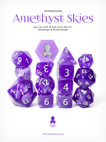 Amethyst Skies 12pc Silver Ink with Kraken Logo Polyhedral Dice Set for RPGS