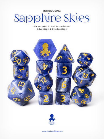 Sapphire Skies 14pc Gold Ink with Kraken Logo Polyhedral Dice Set for RPGS