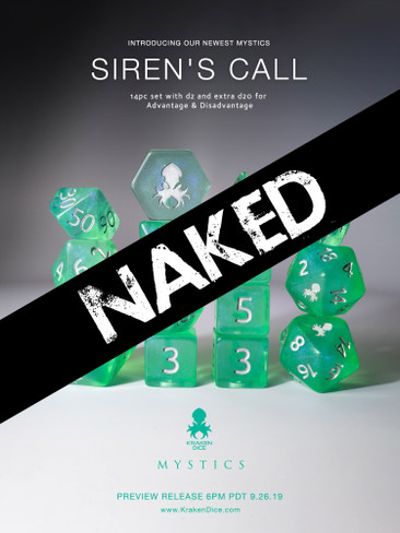 Siren's Call 14pc Naked Dice Set With Kraken Logo