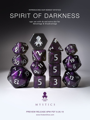 Spirit of Darkness 14pc Silver Ink Dice Set With Kraken Logo
