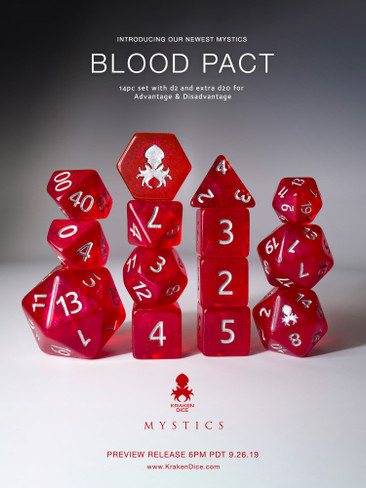 Blood Pact 14pc Silver Ink Dice Set With Kraken Logo