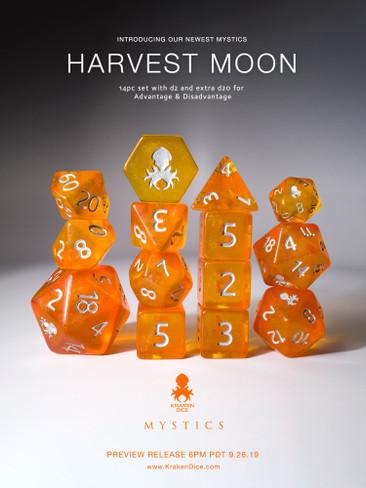 Harvest Moon 14pc Silver Ink Dice Set With Kraken Logo