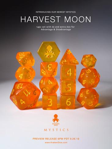 Harvest Moon 12pc Gold Ink Dice Set With Kraken Logo