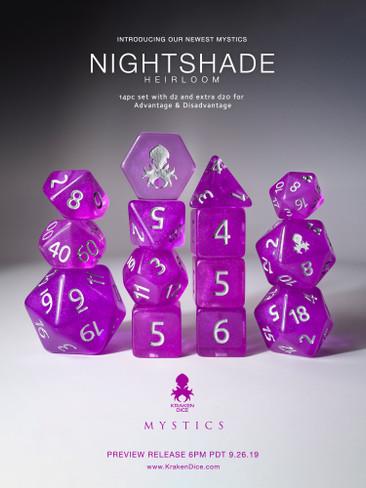 Nightshade: Heirloom 12pc Silver Ink Dice Set With Kraken Logo