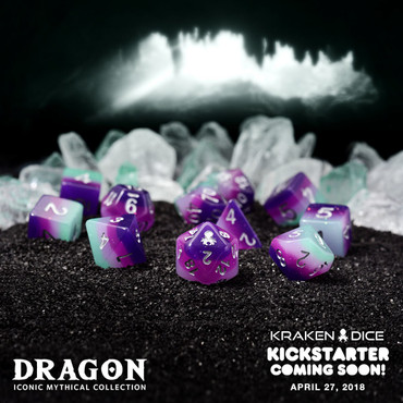 Dragon 12pc Silver Ink Dice Set With Kraken Logo