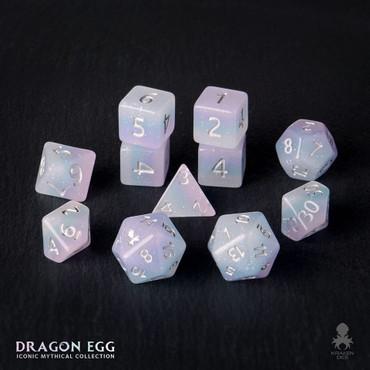 Dragon Egg 12pc Silver Ink Dice Set With Kraken Logo