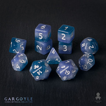 Gargoyle 12pc Silver Ink Dice Set With Kraken Logo