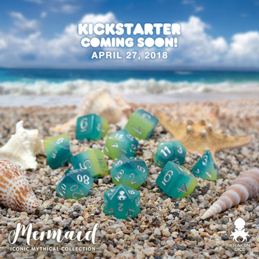 Mermaid 12pc Silver Ink Dice Set With Kraken Logo