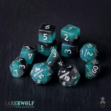 SaberWolf 12pc Silver Ink Dice Set With Kraken Logo