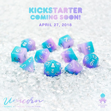 Unicorn 12pc Silver Ink Dice Set With Kraken Logo
