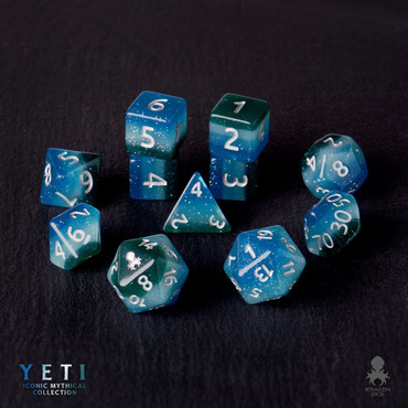 Yeti 12pc Silver Ink Dice Set With Kraken Logo
