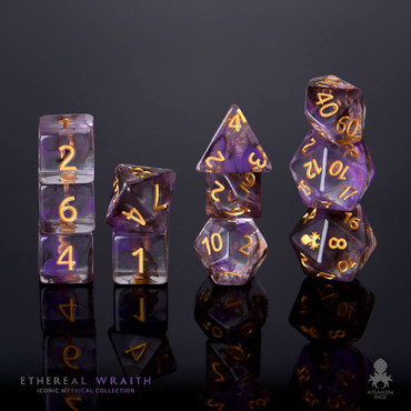 Ethereal Wraith 12pc Gold Ink Dice Set With Kraken Logo