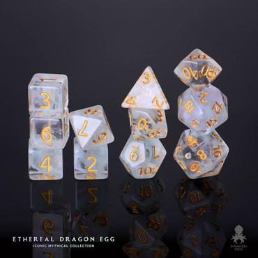 Ethereal Dragon Egg 12pc Gold Ink Dice Set With Kraken Logo