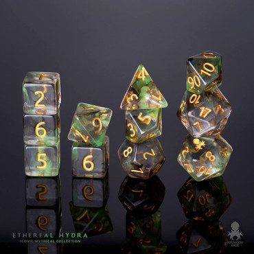 Ethereal Hydra 12pc Gold Ink Dice Set With Kraken Logo