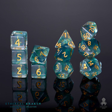 Ethereal Kraken 12pc Gold Ink Dice Set With Kraken Logo