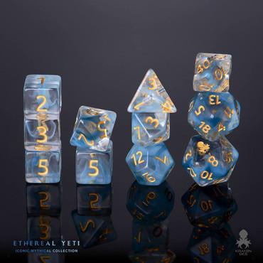 Ethereal Yeti 12pc Gold Ink Dice Set With Kraken Logo