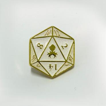D20 white holo glitter logo pin.