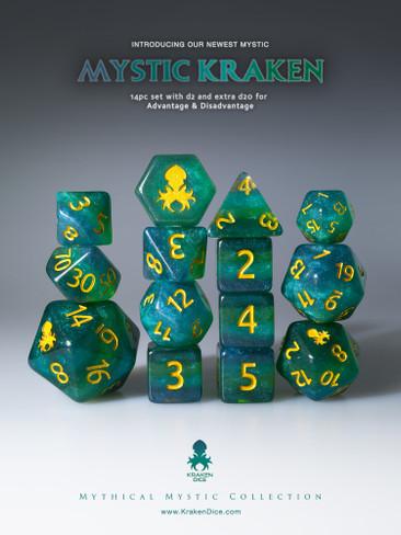 Mystic Kraken 12pc Gold Ink Dice Set With Kraken Logo