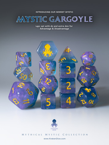 Mystic Gargoyle 12pc Gold Ink Dice Set With Kraken Logo