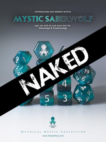 Naked Mystic SaberWolf 14pc Dice Set With Kraken Logo