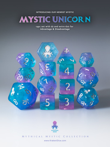 Mystic Unicorn 12pc Silver Ink Dice Set With Kraken Logo