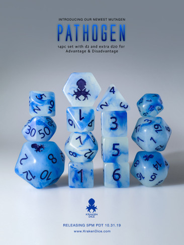 Pathogen 12pc Glow in the Dark Kraken Logo with Blue Ink for RPGs