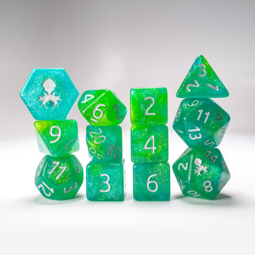 Fern 12pc  Glimmer RPG Dice Set with Silver Ink