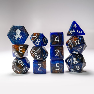 12pc Copper River Glimmer RPG Dice Set with Silver Ink