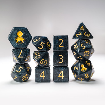 12pc Abyss Glimmer RPG Dice Set with Gold Ink