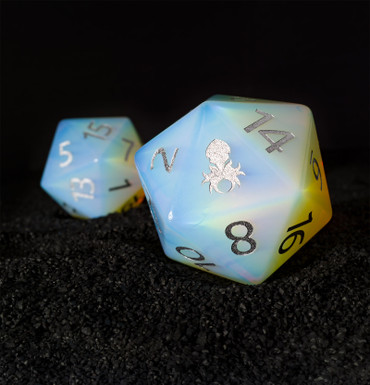 40mm Opalite Semi-Precious Single D20 with Kraken Logo