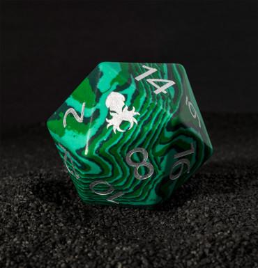 40mm Green Malachite Semi-Precious Single D20 with Kraken Logo