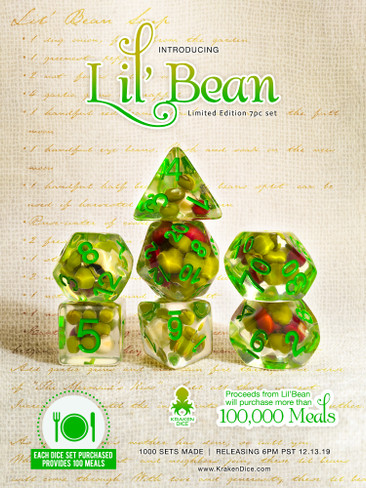 Lil' Bean 7pc RPG Dice Set with Green Ink