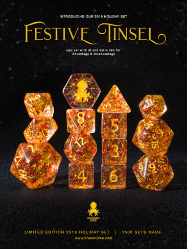 Festive Tinsel 2019 Kraken Holiday Exclusive 14pc Polyhedral Dice Set