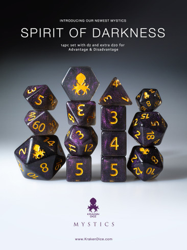Spirit of Darkness 12pc Gold Ink Dice Set With Kraken Logo